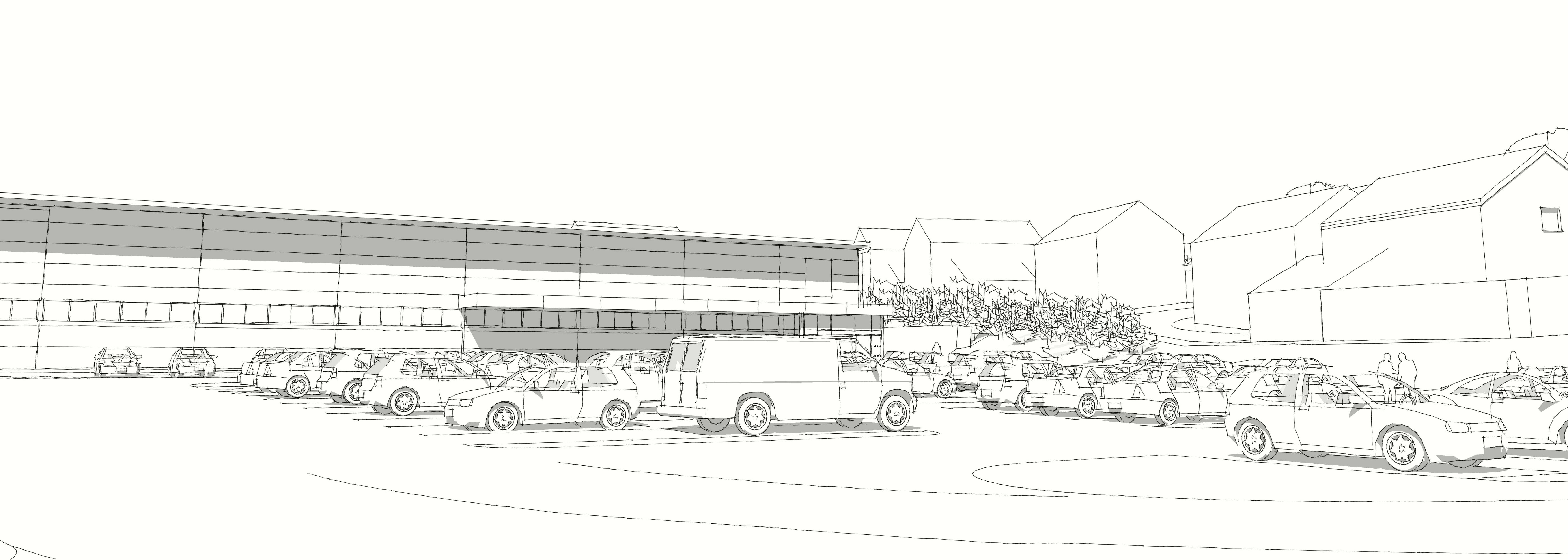 Indicative view of new ALDI store and rear of new housing